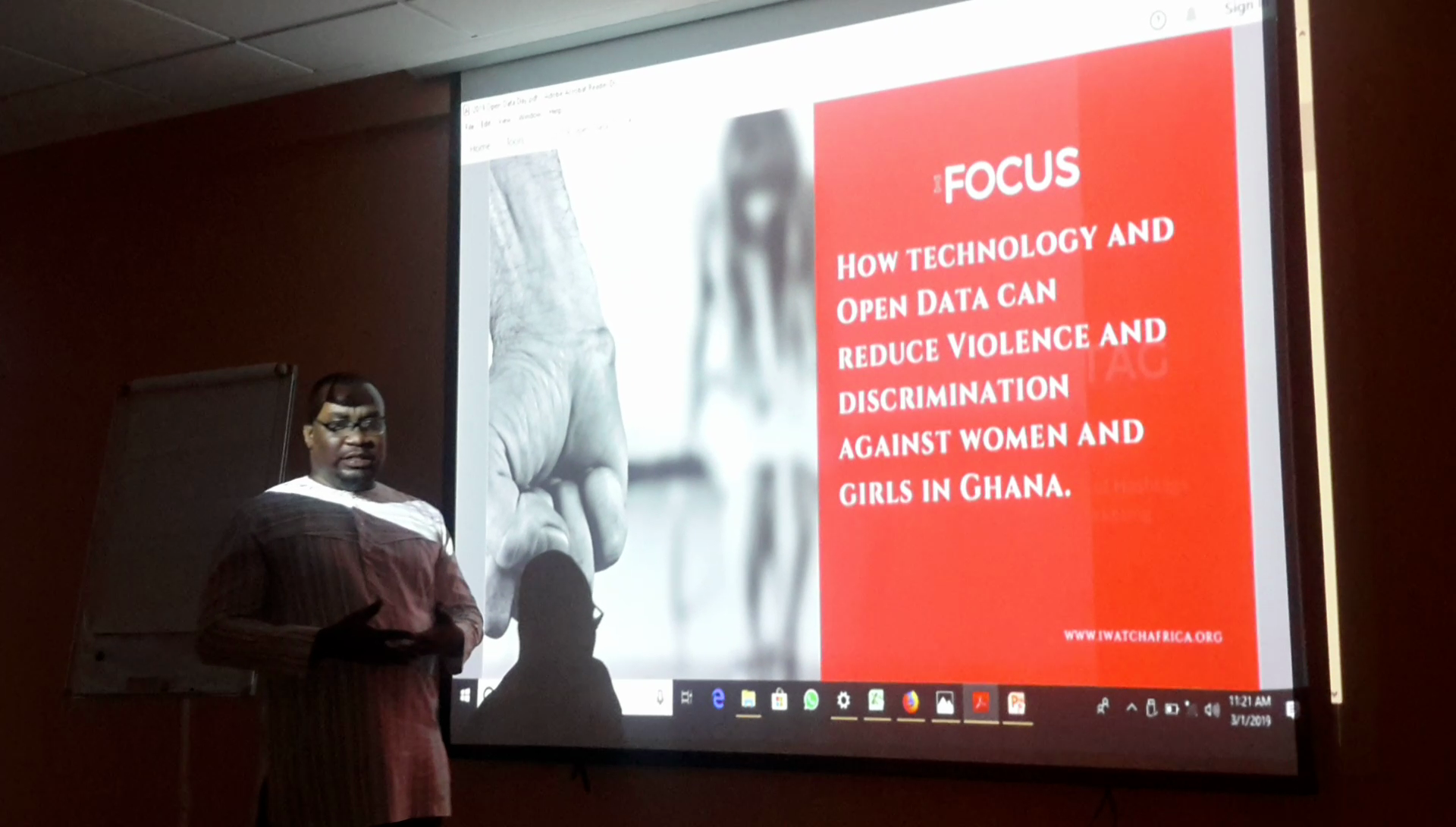 Gideon Sarpong, News Director, iWatch Africa presenting on Open Data Day 2019