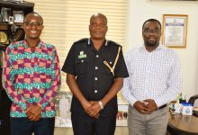 Philip Banini (iWatch, left), ACP David Eklu (Dir. of Public Affairs, Ghana Police Service, middle), Gideon Sarpong (iWatch Africa, right)
