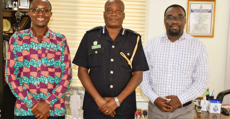 Philip Banini (iWatch, left), ACP David Eklu (Dir. of Public Affairs, Ghana Police Service, middle), Gideon Sarpong (iWatch Africa, right) during a consultative meeting in September, 2019