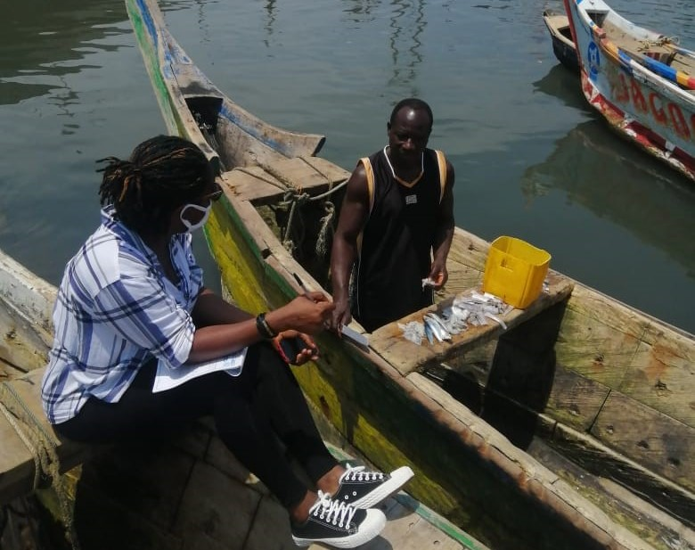 An interaction with Mr. Kwadwo Mensah, a fisherman/ Credit: Eunice Osei-Yeboah