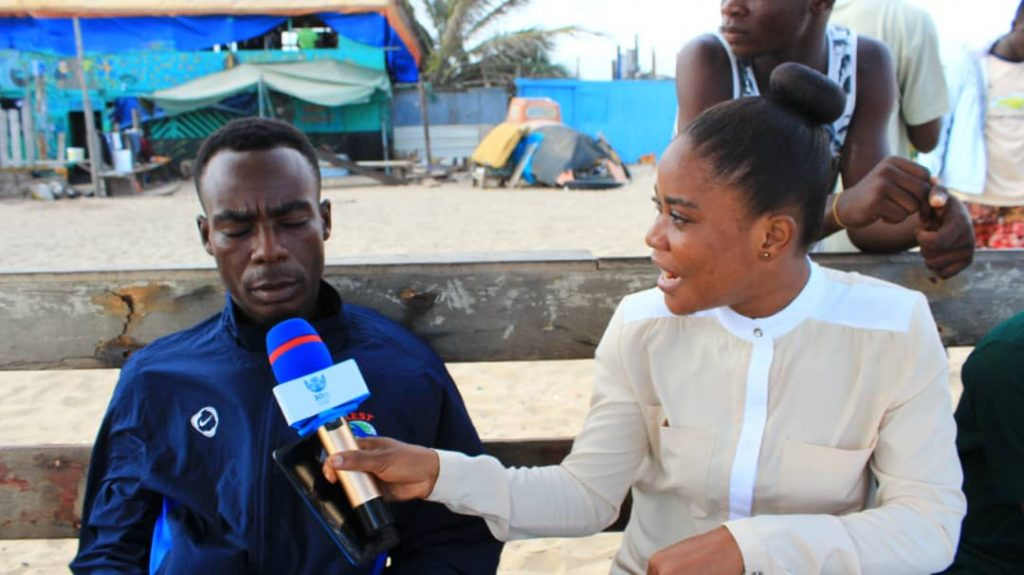 SOA Ghana fellow, Jackline Favour interviews Emmanuel Kobina (resident of Tema Newtown), Pic Credit: Jackline Favour